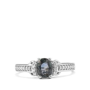 Natural Nigerian Sapphire & Diamond 18K White Gold Tomas Rae Ring MTGW 1.31cts