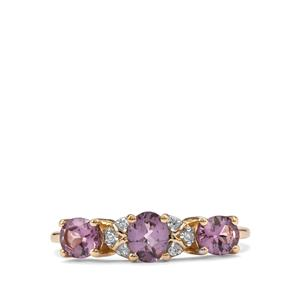 Mahenge Purple Spinel & Diamond 10K Gold Ring ATGW 1.10cts
