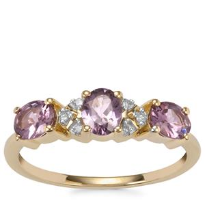 Mahenge Purple Spinel Ring with Diamond in 10K Gold 1.10cts