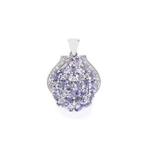 AA Tanzanite & White Topaz Sterling Silver Pendant ATGW 4.89cts