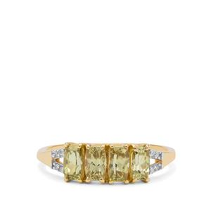Mansanite™ Ring with Diamond in 9K Gold 1.45cts
