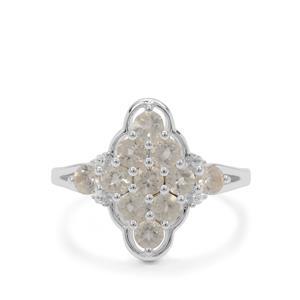 Plush Diamond Sunstone & White Zircon Sterling Silver Ring ATGW 1.25cts