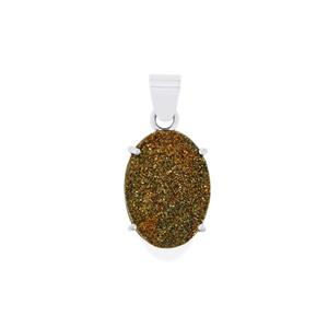 Spectropyrite Drusy Pendant in Sterling Silver 16cts