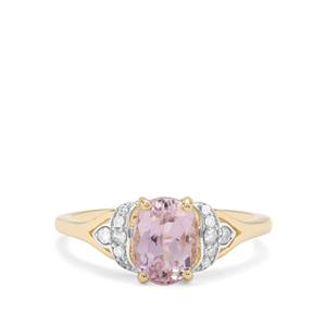 Nuristan Kunzite & Diamond 9K Gold Ring ATGW 1.97cts