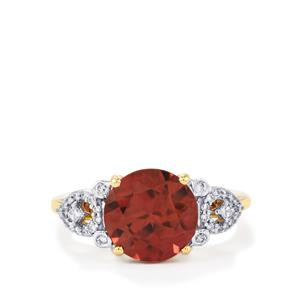 Zanzibar Zircon Ring with Diamond in 18k Gold 5.29cts
