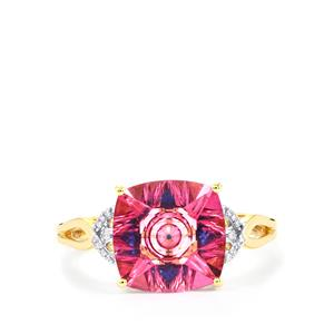Lehrer KaleidosCut Pink Topaz, Neon Apatite Ring with Diamond in 10K Gold 4.19cts