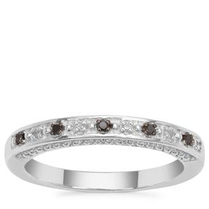 Black Diamond Ring with White Diamond in Sterling Silver 0.05ct