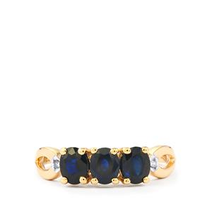 Australian Blue Sapphire Ring with Diamond in 10k Gold 1.23cts