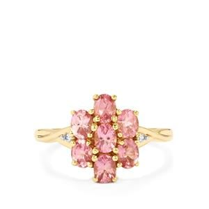 Natural Pink Spinel & White Zircon 9K Gold Ring ATGW 1.34cts