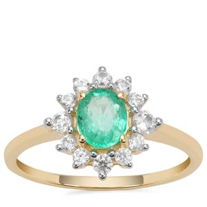 Colombian Emerald Ring with White Zircon in 9K Gold 1.12cts
