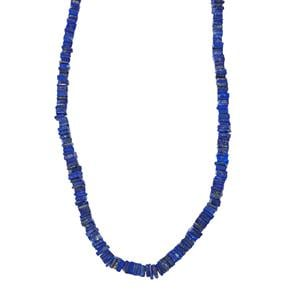 120ct Lapis Lazuli Sterling Silver Graduated Bead Necklace