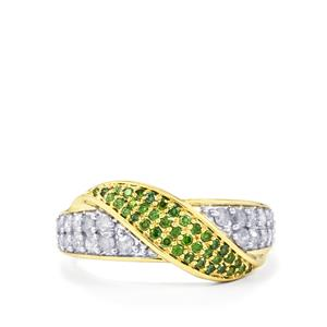 Green Diamond Ring with White Diamond in 9K Gold 0.75ct
