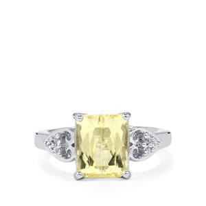 Canary Kunzite Ring with White Topaz in Sterling Silver 3.52cts