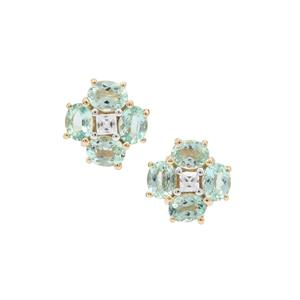 Aquaiba Beryl & White Zircon 9K Gold Earrings ATGW 1.37cts