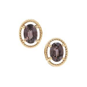 Burmese Purple Spinel Earrings in 9K Gold 1.95cts