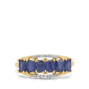 Burmese Blue Sapphire Ring with White Zircon in 9K Gold 1.83cts