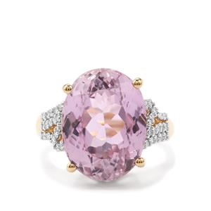Mawi Kunzite Ring with Diamond in 18K Gold 13.51cts