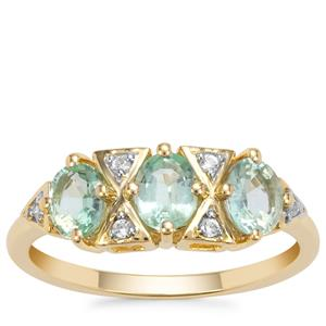 Malysheva Siberian Emerald Ring with White Zircon in 9K Gold 1.06cts
