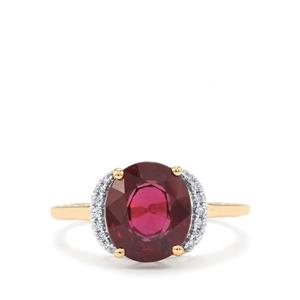 Malawi Garnet Ring with Diamond in 18K Gold 3.69cts