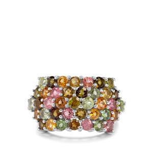 4.76ct Tutti-Frutti Tourmaline Sterling Silver Ring