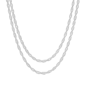 "24"" Sterling Silver Couture Bunch of Two Cordino Chain 4.21g"
