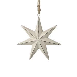 Cream Wooden Star With Twine Hanger