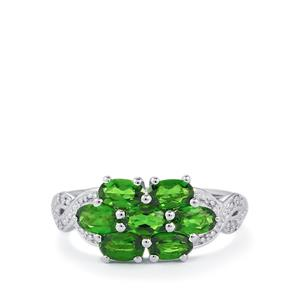 Chrome Diopside Ring with Diamond in Sterling Silver 1.66cts
