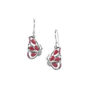 Bangalore Ruby Butterfly Earrings with Rajasthan Garnet in Sterling Silver 2.47cts