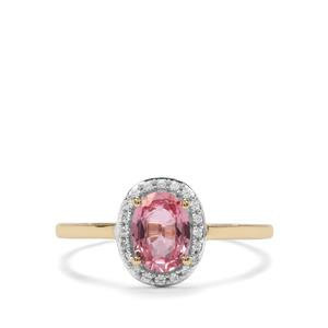 Sakaraha Pink Sapphire Ring with White Zircon in 9K Gold 1cts