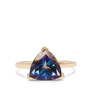 Mystic Blue Topaz Ring in 10K Gold 3.70cts