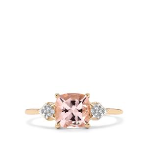 Alto Ligonha Morganite Ring with Diamond in 10K Gold 1.33cts