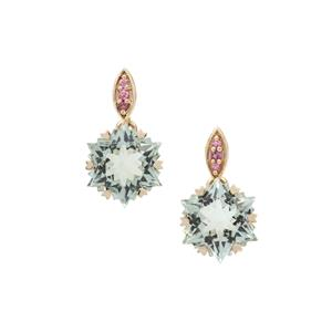 Wobito Snowflake Cut Prasiolite & Pink Tourmaline 9K Gold Earrings ATGW 8.25cts