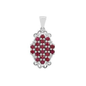 Burmese Ruby Pendant with White Zircon in Sterling Silver 2.55cts