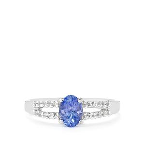 AA Tanzanite Ring with White Topaz in Sterling Silver 1.20cts