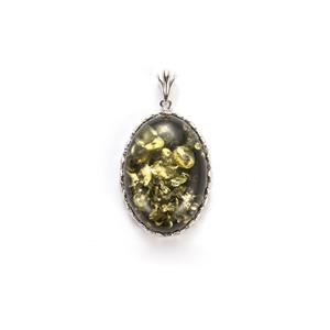 Baltic Green Amber Pendant in Sterling Silver
