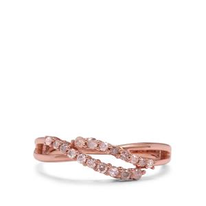 Pink Diamond Ring in Rose Gold Plated Sterling Silver 0.27ct