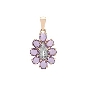 Rose Cut Purple Sapphire Pendant with White Zircon in 9K Gold 1.95cts