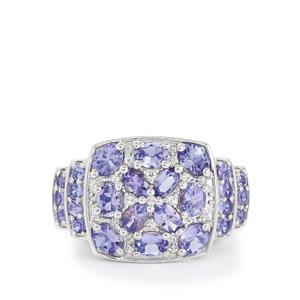 Tanzanite & White Topaz Sterling Silver Ring ATGW 5.55cts