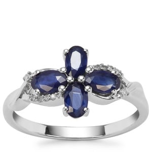 Sant Sapphire Ring with Diamond in 9K White Gold 1.21cts