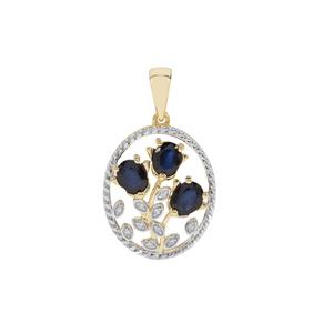Sri Lankan Sapphire Pendant with Diamond in 9K Gold 1.36cts
