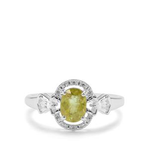 Ambilobe Sphene Ring with White Zircon in Sterling Silver 1.06cts
