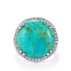 Cochise Turquoise & White Topaz Sterling Silver Ring ATGW 17.59cts