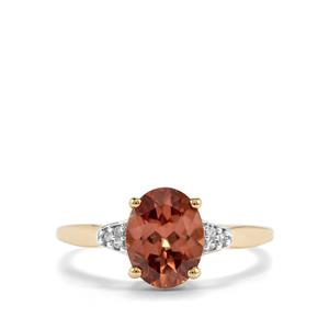 Zanzibar Zircon Ring with White Zircon in 10K Gold 2.46cts