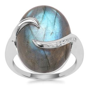 Labradorite Ring with White Zircon in Sterling Silver 15.12cts