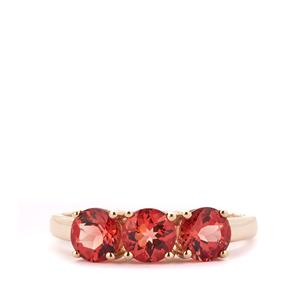 Red Mongolian Andesine Ring in 10k Gold 1.42cts