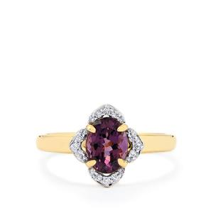 Mahenge Purple Spinel Ring with Diamond in 14k Gold 1.50cts
