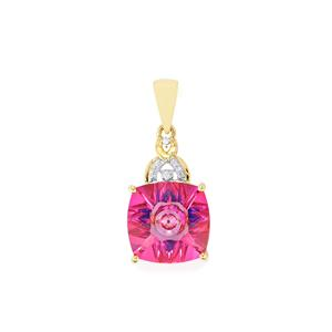 Lehrer KaleidosCut Mystic Pink Topaz Pendant with Neon Apatite & Diamond in 10K Gold 7.12cts