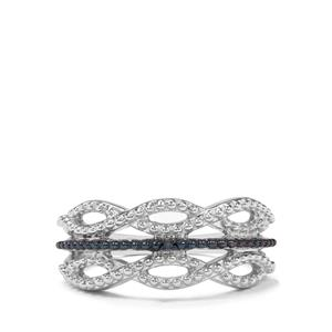 Blue Diamond Sterling Silver Ring