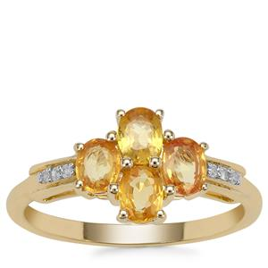 Tanzanian Canary Sapphire Ring with Diamond in 9K Gold 1.27cts
