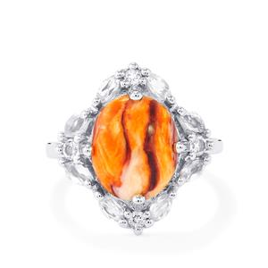 Lion's Paw Shell (12x10) & White Topaz Sterling Silver Ring